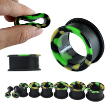 4-25mm Cool Ear Gauges Tunnels Silicone Cheap Ear Plugs Soft Plugs Piercing Camouflage Ear Gauge Plugs Piercing Tunnel Punk