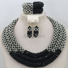 Hot Design Nigerian Wedding Necklace Jewellery Set Women Costume Black Crystal Beads African Jewelry Set Free Shipping AIJ409