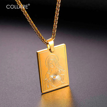 Collare Virgin Mary Necklaces & Pendants Black Gun/Gold Color Stainless Steel Dog Tag Necklace Mother Mary Heart Jewelry P100