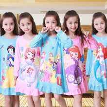 spring and autumn clothes girls pajamas cartoon nightgowns children clothing baby girl dresses princess party dress kids DS045