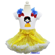 Girl Embroidered Snow White Princess Short Sleeves Pettitop with Yellow White PettiskirtParty Dress 2 pcs Set
