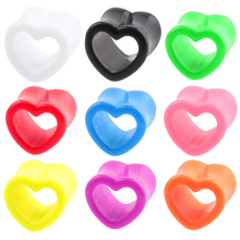 SWANJO 1 Pair Acrylic Heart Hollow Double Flare Ear Tunnels Gauges Plugs Earlets Ear Piercing Body Pircing Jewelry Promoting