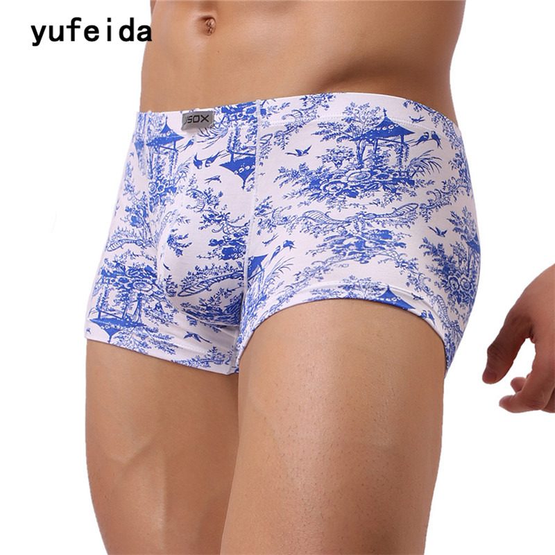 YUFEIDA New Arrival Fancy Mens Boxer Shorts Men Underwear Sexy Blue Print Cotton Charm Boxer Male Novelty Underwear Clothing(China)