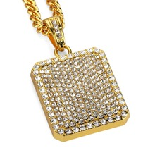 Gold Plated Full Cz Diamond Rectangle Pendant Necklace Gold / Silver  Bling Star Necklace Men Women Hip Hop Jewelry Big Small