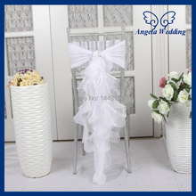 CH010B wholesale 2017 custom made chiffon and organza white curly willow ruffled wedding chair cover with buckle(China)