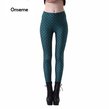 Womens Sexy Mermaid Leggings Black Green Wavy Stripe Printed Fitness Legging Female Workout Pants Leggins Gothic Jegging CJO-152(China)