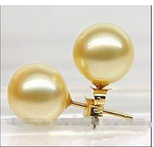Free shipping >>>>>>10mm Yellow south sea shell pearl earrings AAA(China)