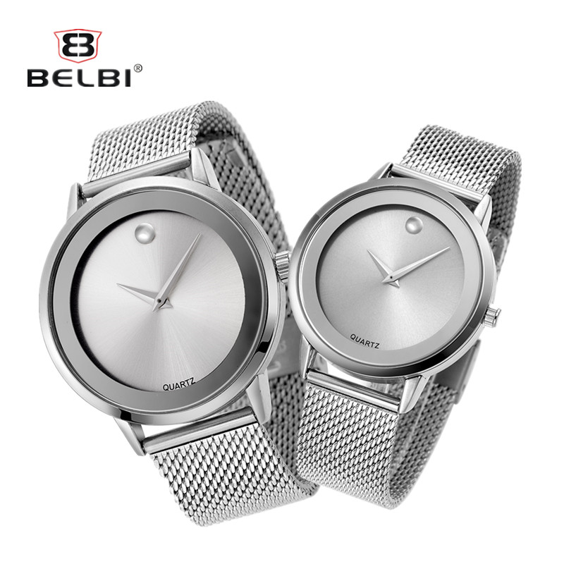 BELBI New 2016 Hot Sale High-quality Couples Sun Surface Watch Quartz Stainless Steel Watches Luxury Wristwatches Loves Watches<br>