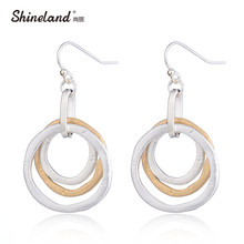 Shineland Simple Design 3 Circle/Round Hollow Gold Silver Handmade Drawing Drop Earring Punk Statement Pendientes for Women Gift(China)