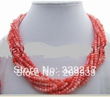 002629 Stunning! 9Strds Pink Coral Necklace