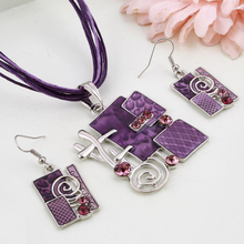 MINHIN Summer Style Enamel Silver Pendant Jewelry Sets Delicate Lucite Design Multi Colors Geometry Choker Necklace Earrings Set(China)