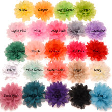12pcs Hot Sale Chiffon Ruffles Flower Puffy Hair Flower 10cm Cheap Flower Accessories for DIY Hair Accessories No Clips(China)