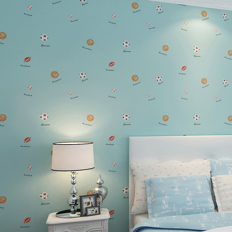 Cartoon Sports Soccer Basketball Rugby Boy Girl Children Room Bedroom Wall Decoration Non-woven Football Wallpaper For Kids Room<br>