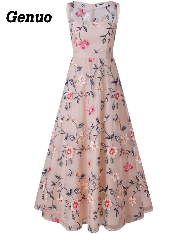 Flower Embroidery Maxi Dress 8