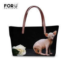 FORUDESIGNS Canadian Hairless Rose Ladies Totes 3D Aniaml Women Shopping Handbags Vintage Boston Bags Beach Travel Bag Wholesale(China)