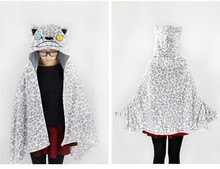 Fashion Cosplay  Anime Snow leopard pashmina Hooded Air Condition Shawl Lounged Blanket Thick Cape Cloak Wraps