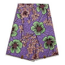 SUP-8 High quality super wax hollandais green flower cotton real dutch prints wax fabrics for nigerian garments 6yards/lot lilac