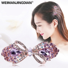 WEIMANJINGDIAN Beautiful Crystal Rhinestones Bow Peacock and Candy Hairclips Barrettes Hairpin Fashion Hair Jewelry for Girls(China)