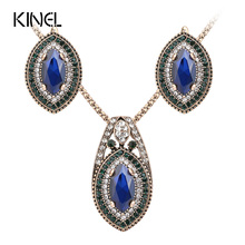 Luxury Vintage Wedding Jewelry Sets Necklace Earring For Women Gold Color Green Crystal  Accessories 2017 New