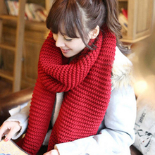 2017 Warm Winter Women Knitted Wool Scarves Solid High quality  Ring scarf women new winter couple thick