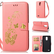 sFor Cover LG Stylus 3 LS777 Stylo 3 Case Luxury Bronzing Butterfly Leather Wallet Case For LG K10 Pro Stand Flip Cover CardSlot(China)