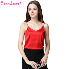 Buy Satin Top 2018 Backless Camis Women Hot Hauts Sexy V Neck Camisole Summer Vest White Strapless Halter Crop Tops Pink Red
