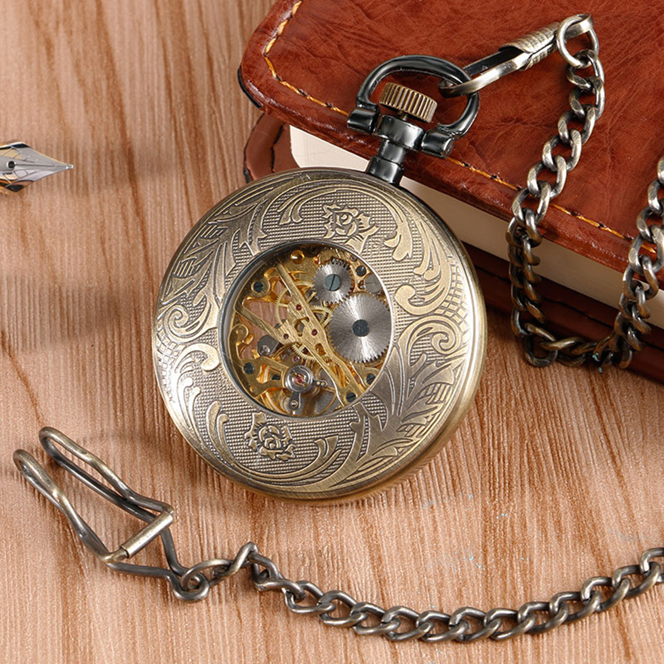 Bronze Mechanical Pocket Watch Open Face Tree Pattern Roman Numbers Clock Hand Winding Fob Watches Men Gift  (5)