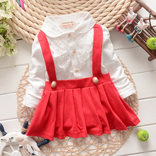 Good quality Children Girl's Fashion Dresses Kids Fake two piece dress  clothes girls sleeve lace dress