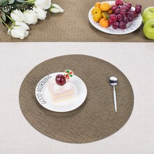 Modern PVC Woven Placemat Round Solid Non slip Insulation Coaster Kitchen Accessories Large Dinner Mat Set Coffee Table Pad&Mats
