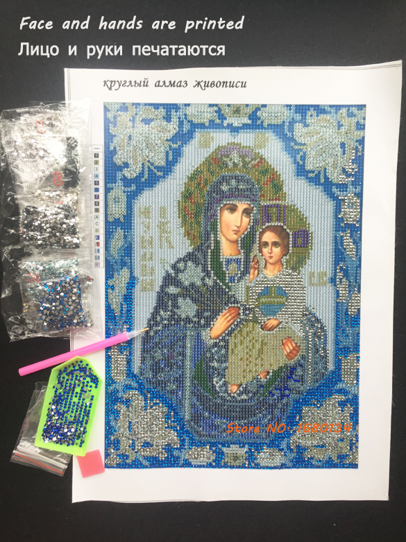 RUBOS Partial Area diamond embroidery religions Blue our lady Icons DIY 5D diamond painting 3D round crystal Patterns face print (9)