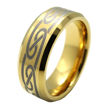 Free Engraving 8mm Gold Tungsten Carbide Celtic Knot Men Ring Wedding Bands with High Polished Anniversary Ring Size 5-15#(China)
