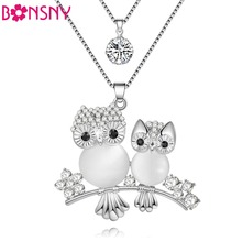 Bonsny Chain 2017 New Colorful Crystal Owl necklace Animal Choker Collar Pendant Alloy Charm Bird Jewelry For Women Girl(China)