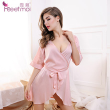Fashion Women Sexy Lingerie Plunge Slip Sleep Wear Night Wear Night Gown Tunic Half Sleeve Kimonos Lace Back(China)