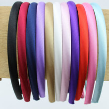 50pcs/lot 10mm Plain Solid Color Satin Covered Resin Hairbands Ribbon Covered Adult Kids Headbands Girls Headband Free Shipping(China)