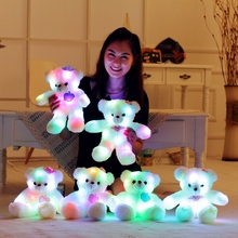 38 cm teddy bear multicolored LED light glow bear cute bear plush toy baby toy birthday present(China)