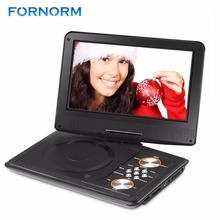 "FORNORM Mini DVD Player 1600mAh 9"" Portable DVD Player CD Player with Remote Control Rechargeable Battery Car Charger AC Adapter(China)"