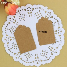 YPP CRAFT 7*4cm Antique Kraft/white Paper Gift Cards/Tags with Swirl Edges for Wedding Party Favor Gift Decoration(China)