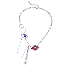 Rhinestone Red Lip Blue Eye Pendants Steampunk Necklace Unique Online Shopping Indian Jewelry Retro Accessories
