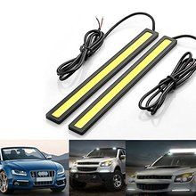 2pc 17cm COB LED DRL Daytime Running Lights Strip Waterproof COB LED Driving Bar Stripes Panel Car Working Lights white ice blue(China)