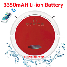 Red Colour Newest WIFI Smartphone App Control Mini Vacuum Cleaner Robot QQ6 With Water Tank (Wet and Dry Mop),Li-ion battery