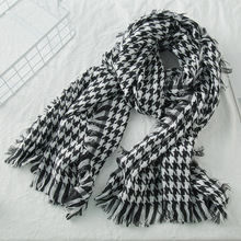 2018 New Wool Houndstooth Scarf Cashmere Tassel for Women Lady Winter Thick warm Scarf High Quality Female Shawl Pearl Diary Hot(China)