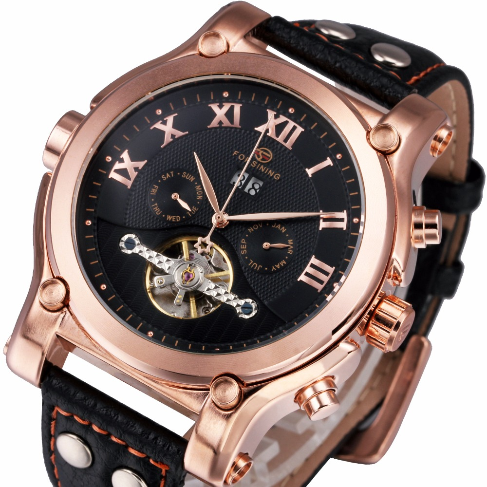 2017 FORSINING Mens Auto Mechanical Watches Male Multifunction Wrist Watches Tourbillion Calendar Date Genuine Leather Band <br>