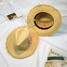 2017 Straw Hats For Women's Female Summer Ladies Wide Brim Panama Handmade Embroidery Flamingo Leisure  Sun Beach Hat