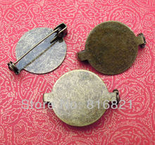 19mm Vintage Antique Bronze Plated Brass Flat Filigree Circle Bezel Tray Pins Back Brooches Bases Settings Blank
