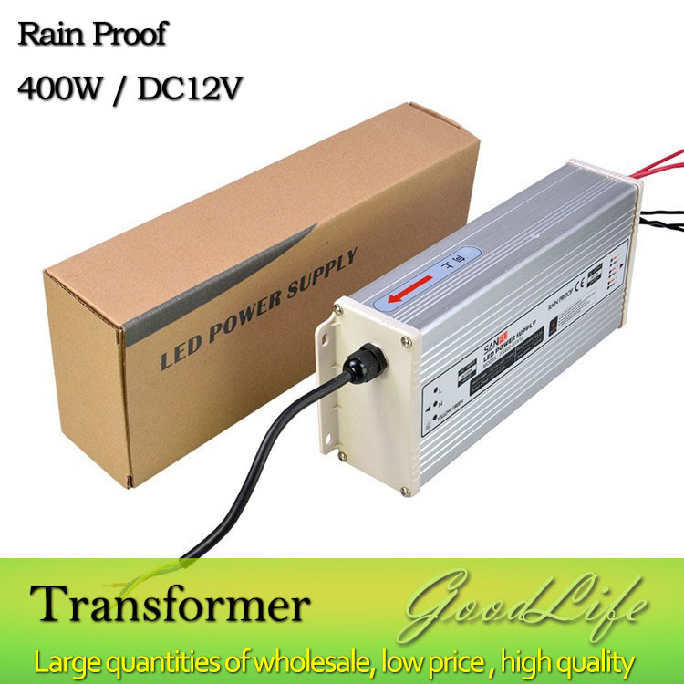 DC 12V 400W Rain Proof  LED Power supply,Power adapter, outdoor use,Lighting Transformer<br>