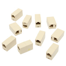 Popular 10Pcs RJ45 Cat5e Straight Network Cable Ethernet LAN Coupler Joiner Female To Female Connector Best Promotion