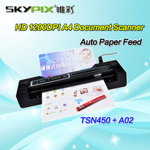 Skypix TSN450/A02 Portable Handheld Document/Photo Scanner 1200DPI Rechargeable HD A4 Document Scanner With Stand Free shipping