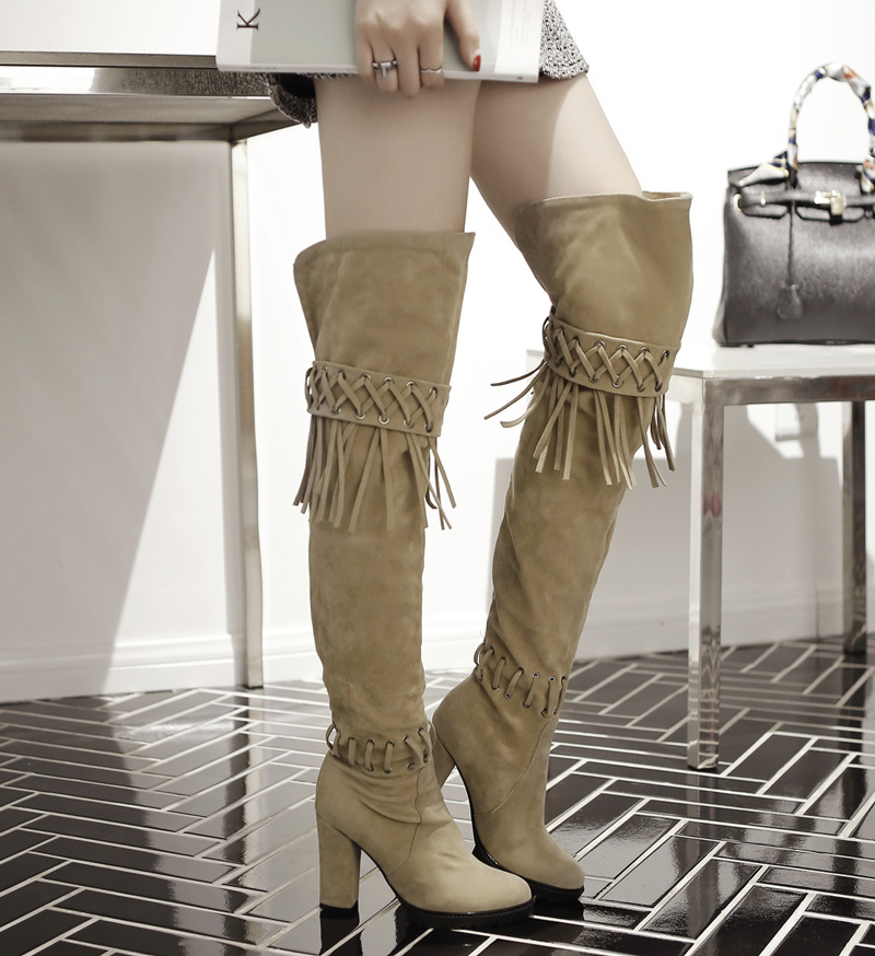 2017 autumn and winter high heel snow boots size11 thigh Tassel pu leather thigh stretch fabric over knee thick heel ankle boots<br><br>Aliexpress