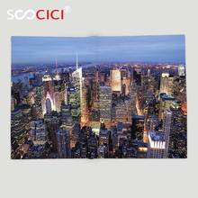 Custom Soft Fleece Throw Blanket New York Decor Aerial View of NYC Full of Skyscrapers Manhattan Times Square Famous Cityscape(China)