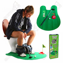 Quality Entertainment Indoor Sport Game Toy Mini Toilet Golf Set Stress Release Creative Party Golf Novelty Gift Practical Jokes